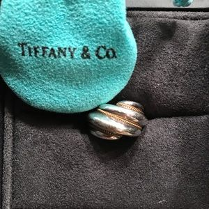 TIFFANY & CO Silver w/gold accent ring